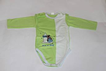 Детский зеленый боди для новорожденного с аппликацией Размер 68 см
