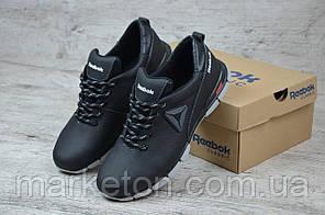 Чоловічі шкіряні кросівки демісезонні Чорні Reebok