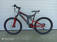 Горный двухподвесный велосипед Azimut Power 26 D ( 19,5 рама)  серо- красный + ПОДАРОК!!!!