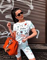 Женский летний принтованный костюм с футболкой и велосипедками 27101042, фото 1