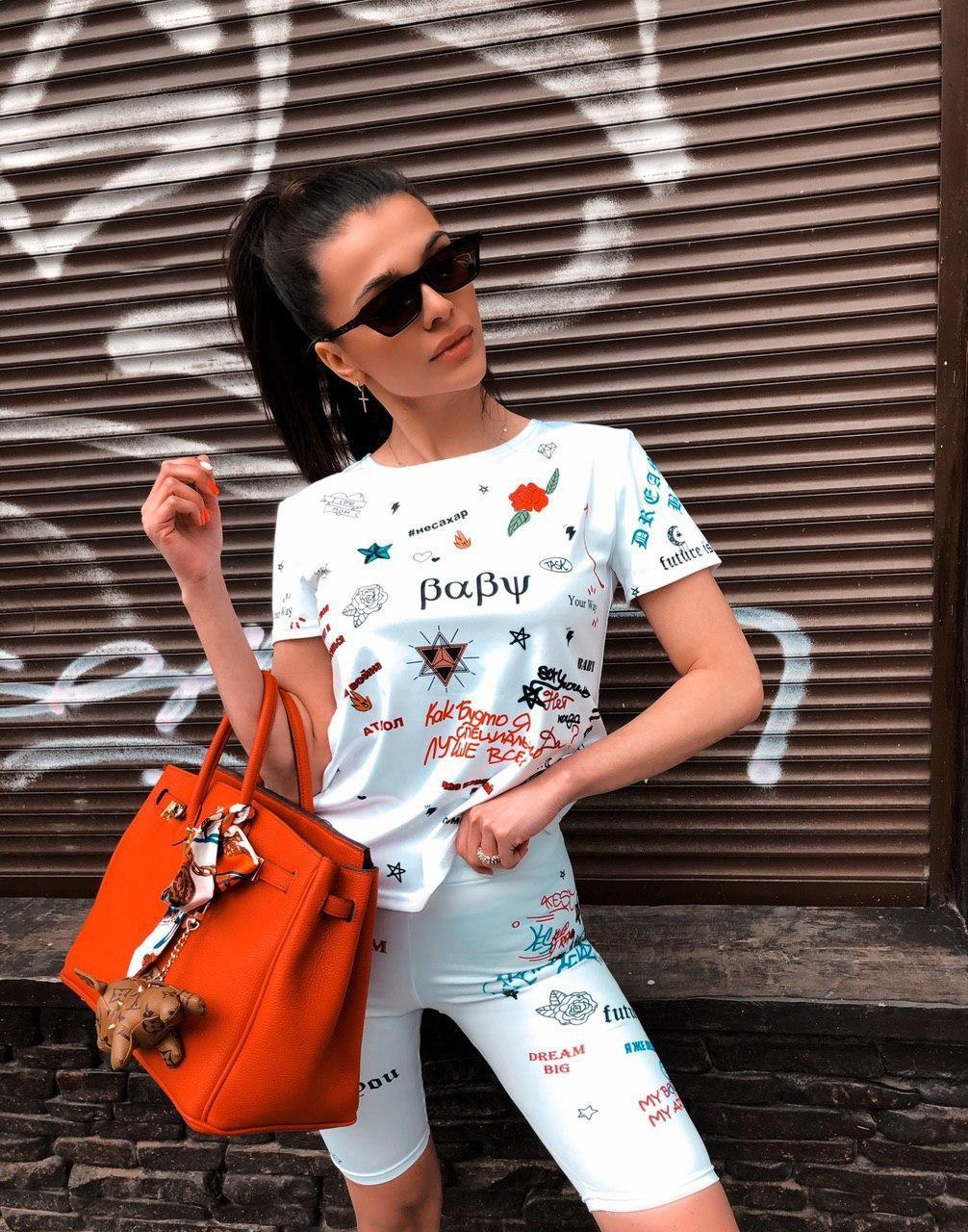 Женский летний принтованный костюм с футболкой и велосипедками 27101042