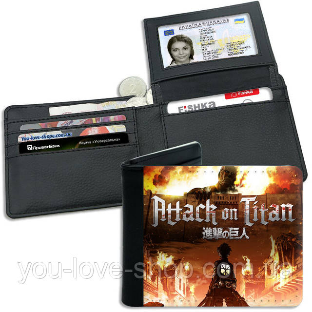 "Кошелек Атака Титанов ""On Fire"" /аниме товары Attack on Titan"