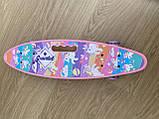 Скейт Penny Board, с широкими светящимися колесами с ручкой, Пенни борд, детский ,от 5 лет, Розовый Пони, Pony, фото 7