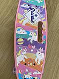 Скейт Penny Board, с широкими светящимися колесами с ручкой, Пенни борд, детский ,от 5 лет, Розовый Пони, Pony, фото 2