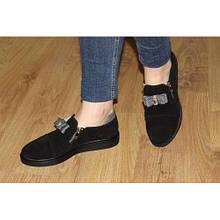 Туфли женские черные с бантиком, натуральная замша