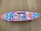 Скейт Penny Board, с широкими светящимися колесами с ручкой, Пенни борд, детский ,от 5 лет, Розовый Пони, Pony, фото 3