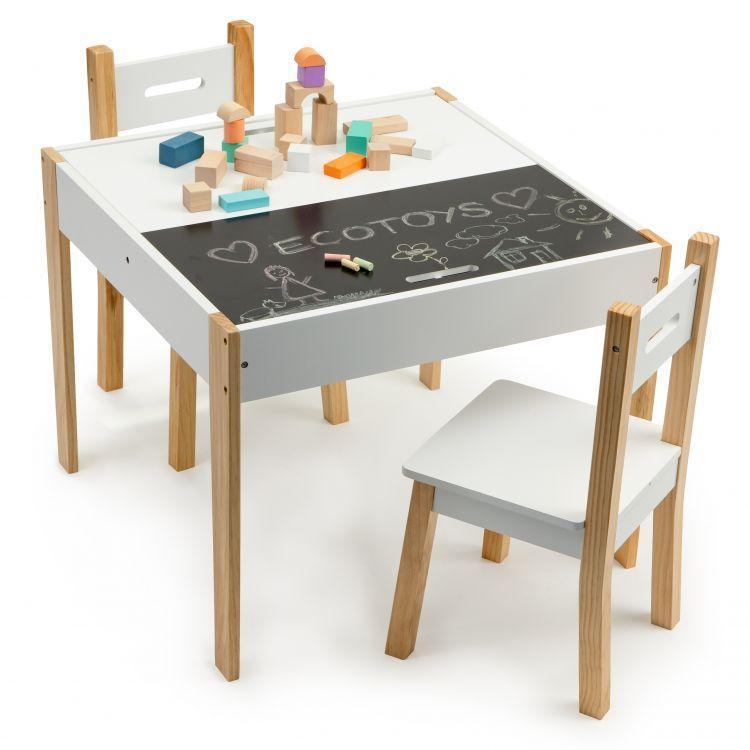 Стол и 2 стула детские EcoToys OT143 + рисование мелом (9274)