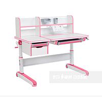 Растущая парта-трансформер с надстройкой и ящиками для детей от 4 до 16 лет 120х71 см ТМ FunDesk libro pink