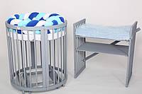 Круглая кроватка трансформер 12в1 BabySleep + укачивание