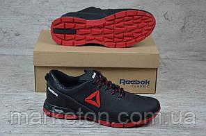 Чоловічі шкіряні кросівки демісезонні Чорні з червоним Reebok