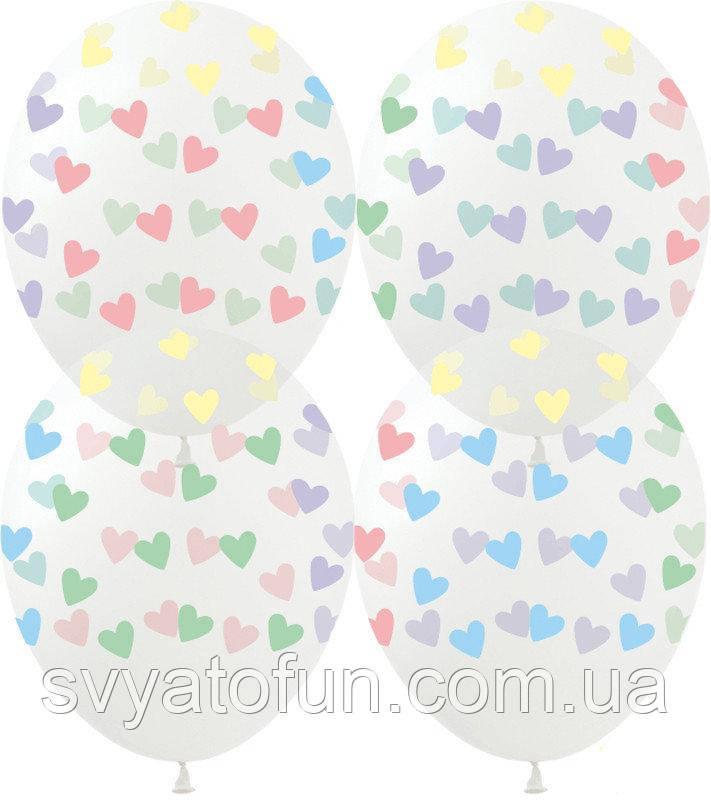 """Латексные воздушные шарики Сердечки макарун на прозрачном GR-15 12"""" 100шт/уп ArtShow"""