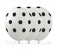 Латексные воздушные шарики Горошек на белом 100шт/уп GR-5 ArtShow