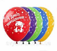 Латексные воздушные шарики З Днем Народження мишка 100шт/уп укр SDR-36 ArtShow