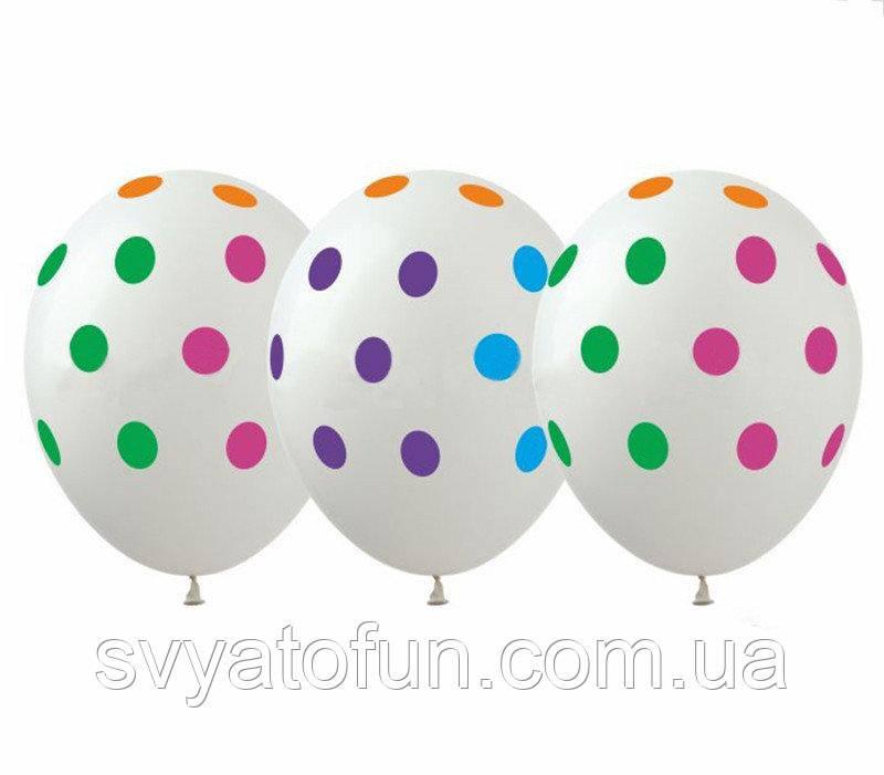 Латексные воздушные шарики Горошек цветной на прозрачном 20шт/уп GR-5 ArtShow