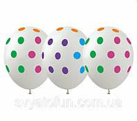 Латексные воздушные шарики Горошек цветной на прозрачном 20шт/уп GR-5 ArtShow, фото 1