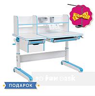 Растущая парта-трансформер с надстройкой и ящиками для детей от 4 до 16 лет 120х71 см ТМ FunDesk libro blue