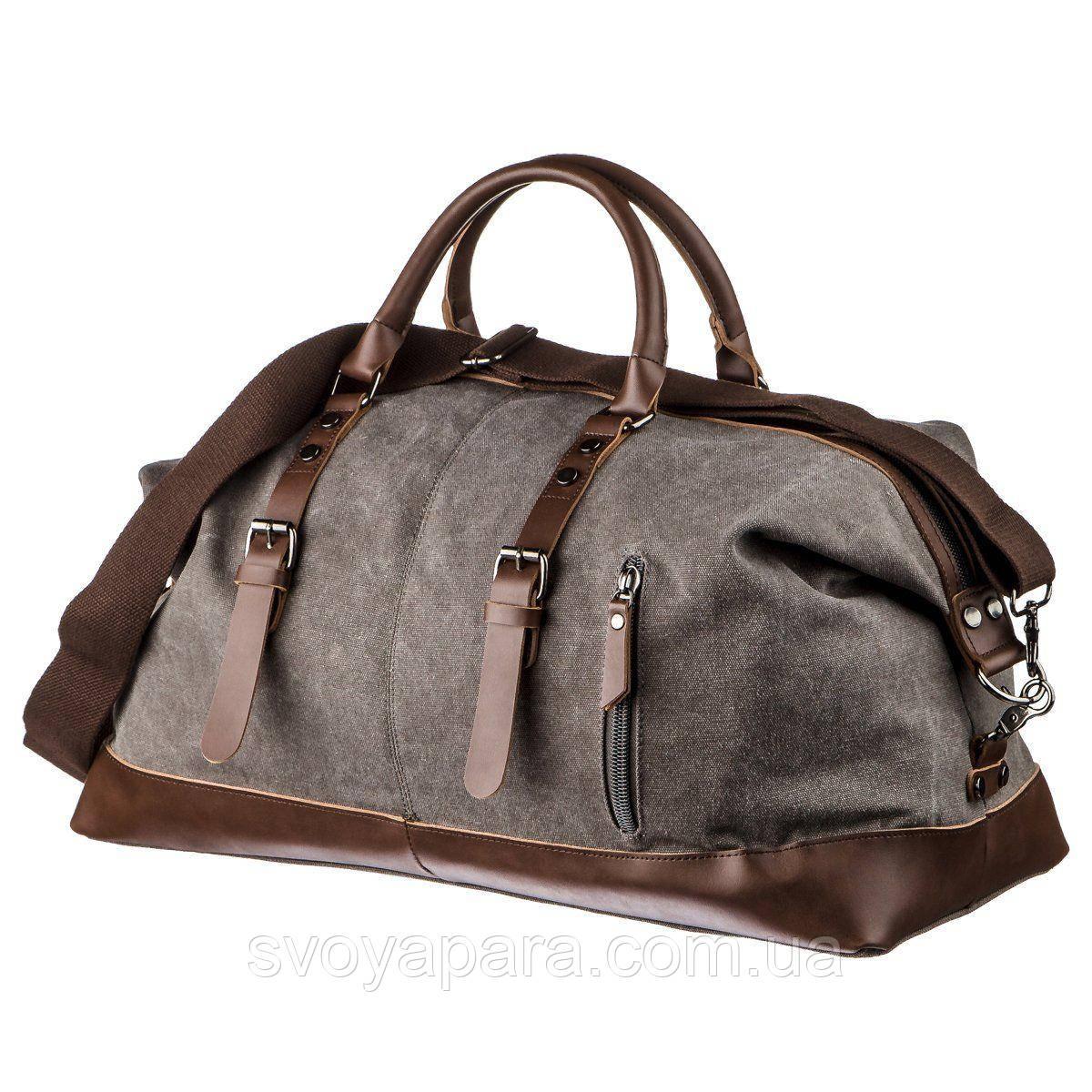 Дорожная сумка текстильная большая Vintage 20165 Серая