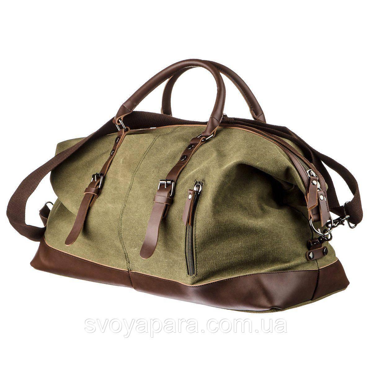 Дорожная сумка текстильная большая Vintage 20167 Зеленая