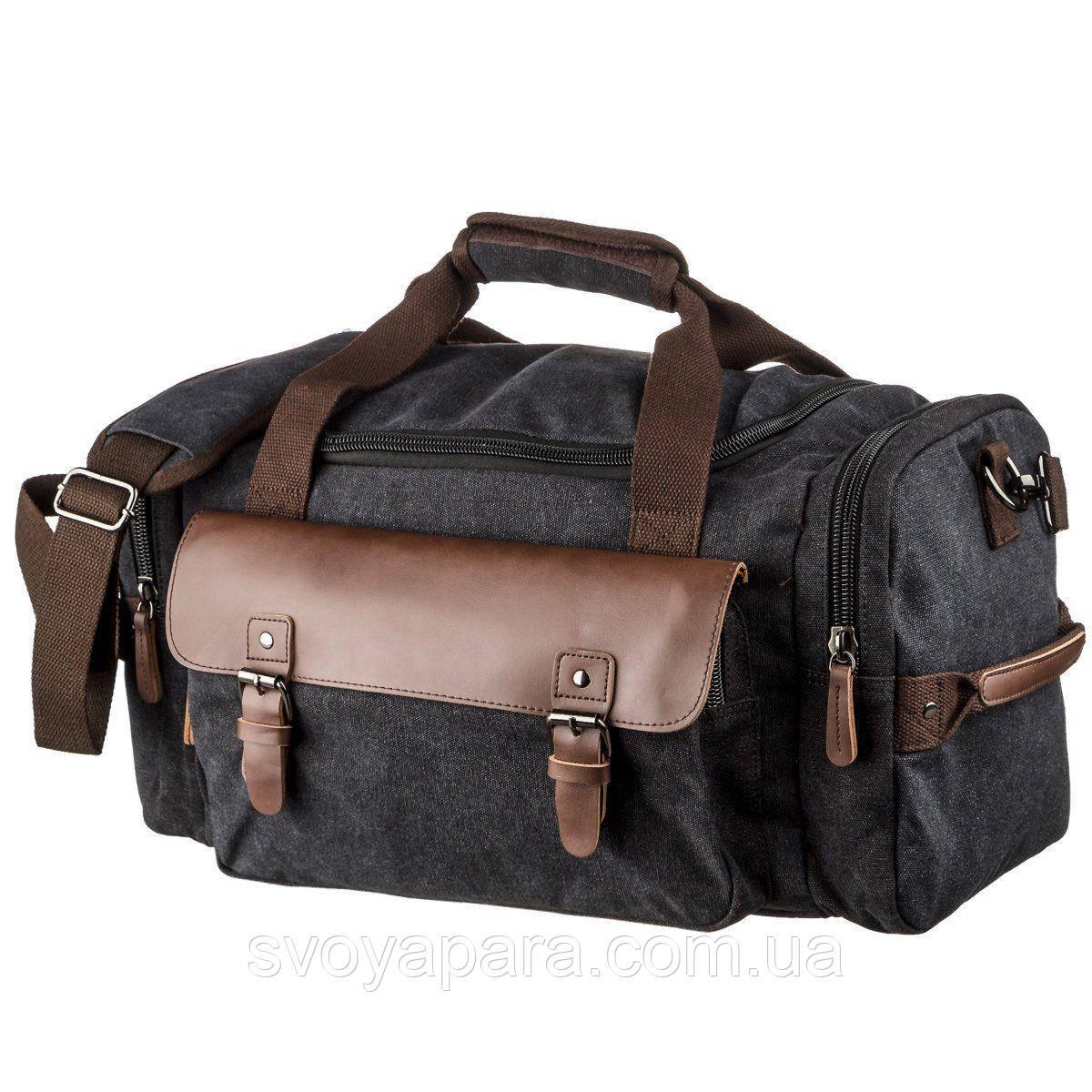 Дорожная сумка текстильная с карманом Vintage 20192 Черная
