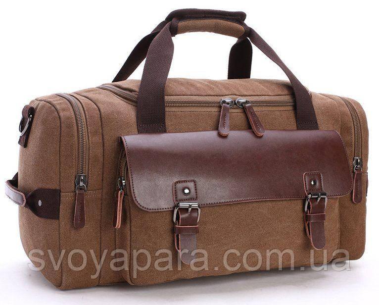 Дорожная сумка текстильная с карманом Vintage 20193 Коричневая