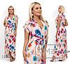 Довге яскраве літнє кольорове плаття з імітацією запаху (р. 42-54). Арт-2873/23