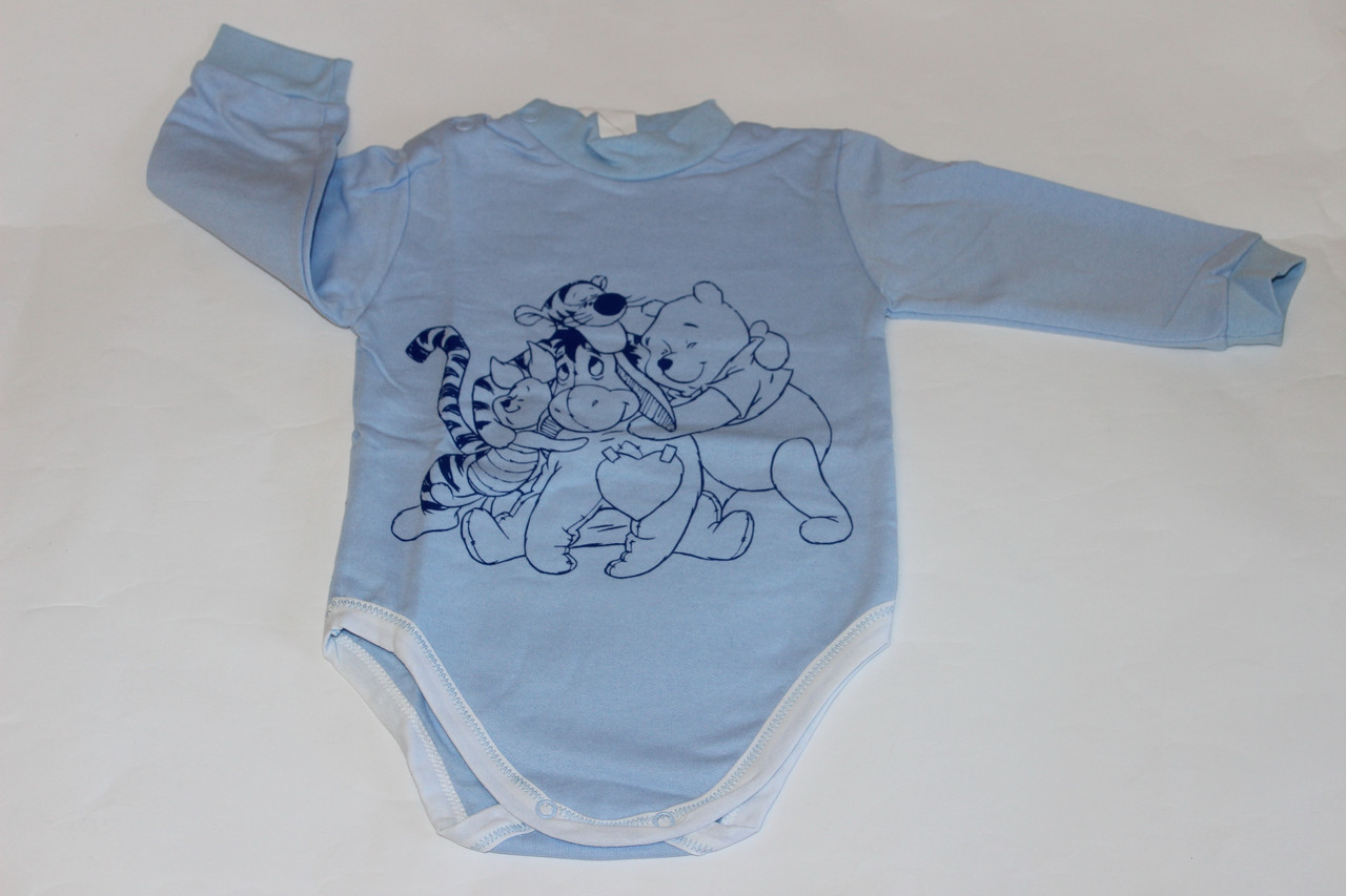 Теплый ясельный синий боди с начесом для новорожденного Дисней Размер 86 см