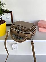 Жіноча сумка крос-боді Fantasy на дві блискавки хакі (темно-бежева) СФ569, фото 2