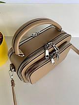 Женская сумка кросс-боди Fantasy на две молнии хаки (темно-бежевая) СФ569, фото 3