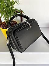 Женская сумка кросс-боди Fantasy на две молнии черная СФ570, фото 3