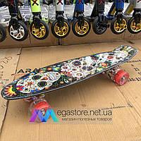 Скейтборд пенни борд детский для девочек мальчиков начинающих со светящимися колесами penny board черный