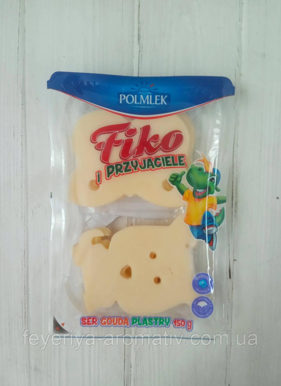 Сыр твердый порезаный слайсами Gouda Fiko Polmlek 150г (Польша)