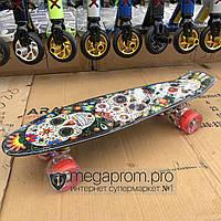 Скейтборд пенни борд детский для девочек мальчиков начинающих пластиковый со светящимися колесами черный