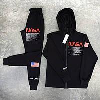 Спортивный костюм Nasa мужской с капюшоном осенний | демисезонный Наса черный | ЛЮКС качества