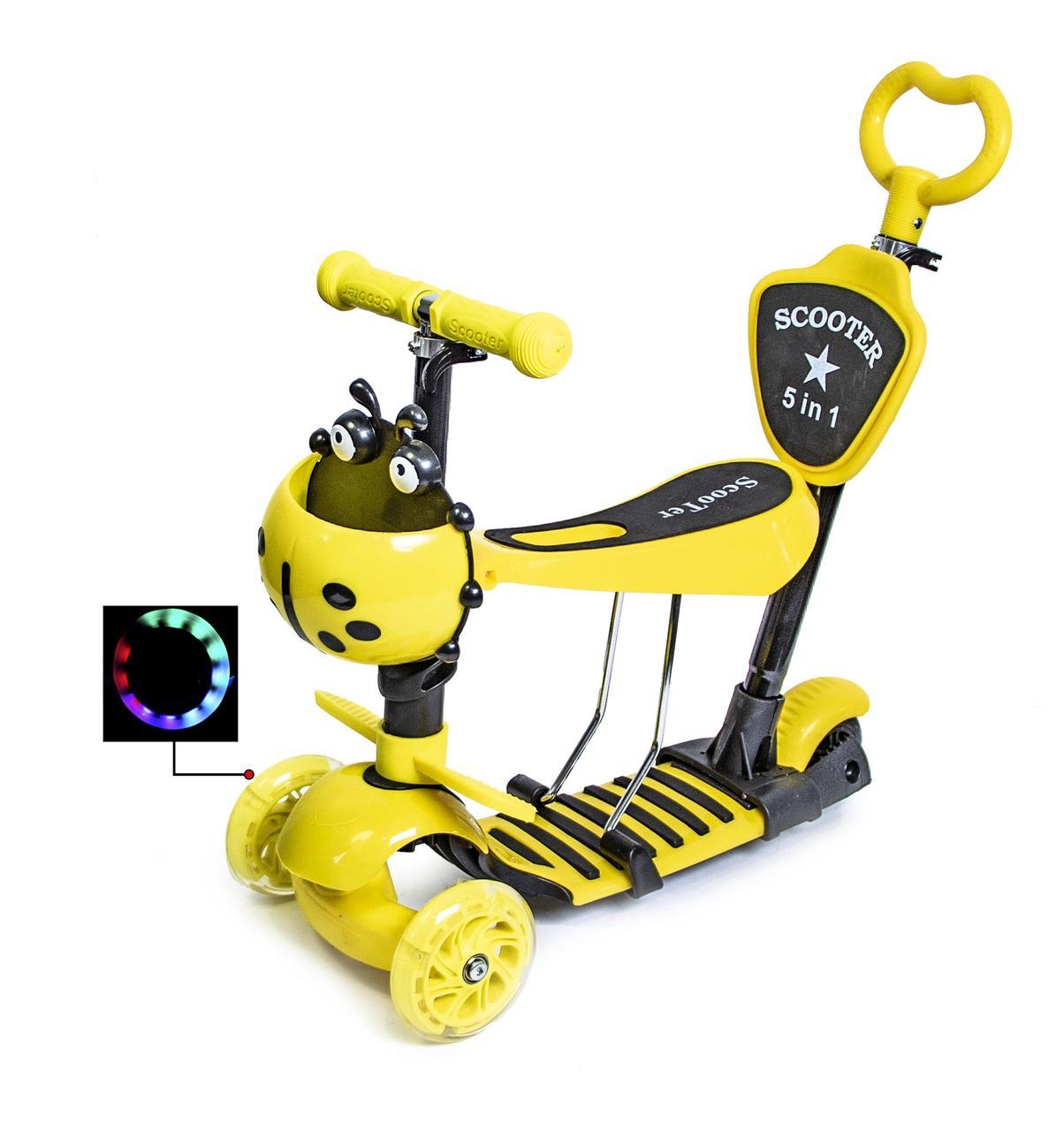 Самокат детский ScooTer 5в1 Божья Коровка с Родительской ручкой и Сиденьем (Желтый) - Самокаты