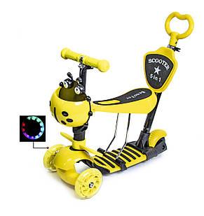 Самокат детский ScooTer 5в1 Божья Коровка с Родительской ручкой и Сиденьем (Желтый) - Самокаты, фото 2