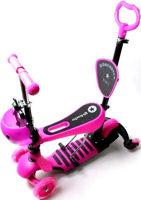 Самокат детский ScooTer QD четырехколесный Божья Коровка 4в1 с Родительской ручкой (Розовый) - Самокаты