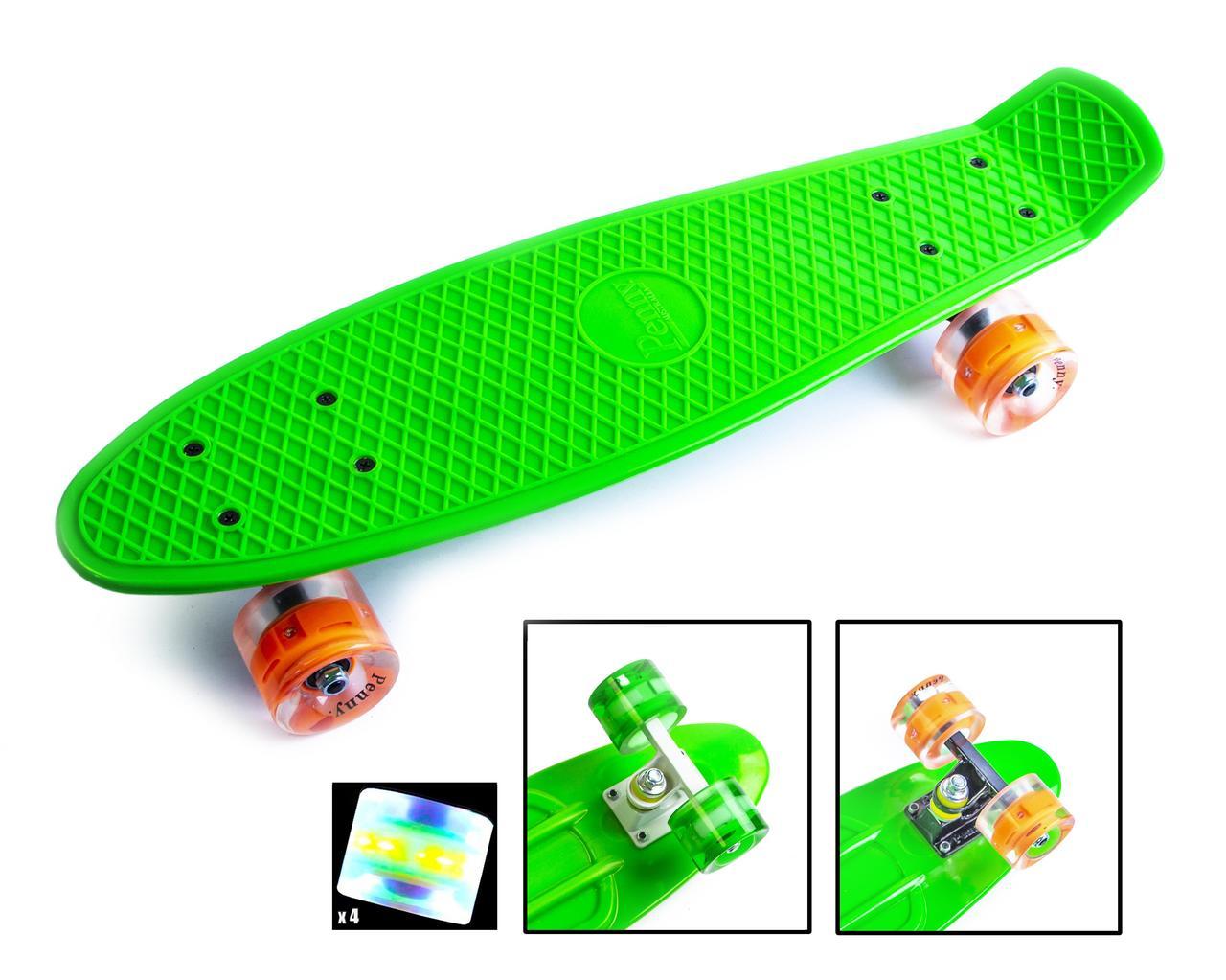 Пенни борд Penny 22″ Pastel Series Зеленый (Светящиеся зеленые колеса) - Скейтборды и роллерсерфы