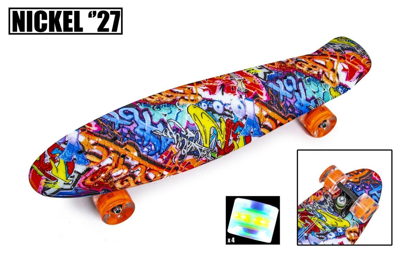 Пенни борд Penny 27″ Nickel с рисунком Graffity Светящиеся колеса - Скейтборды и роллерсерфы