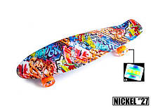 Пенни борд Penny 27″ Nickel с рисунком Graffity Светящиеся колеса - Скейтборды и роллерсерфы, фото 3