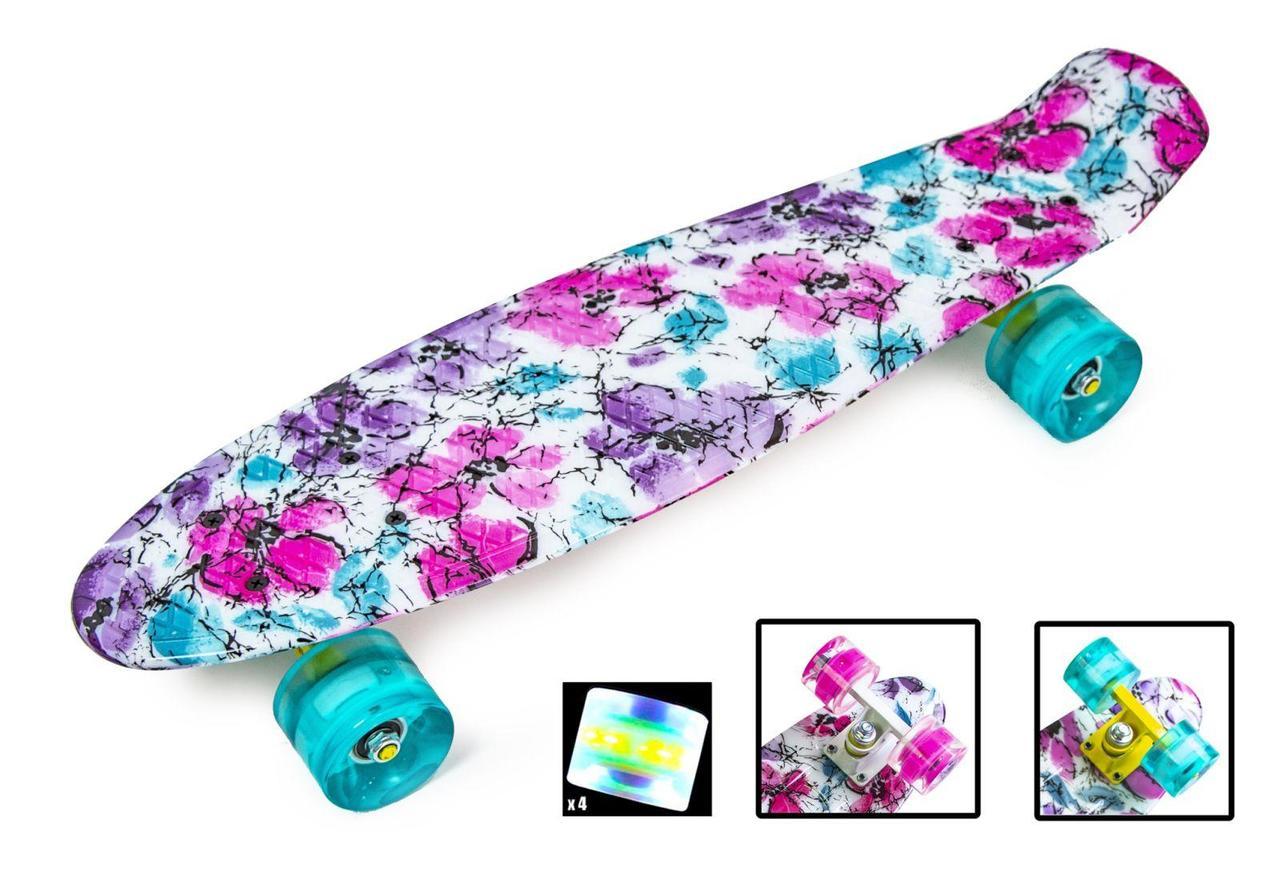 Пенни борд Penny Flowers chamomile 22″ со светящимися колесами - Скейтборды и роллерсерфы