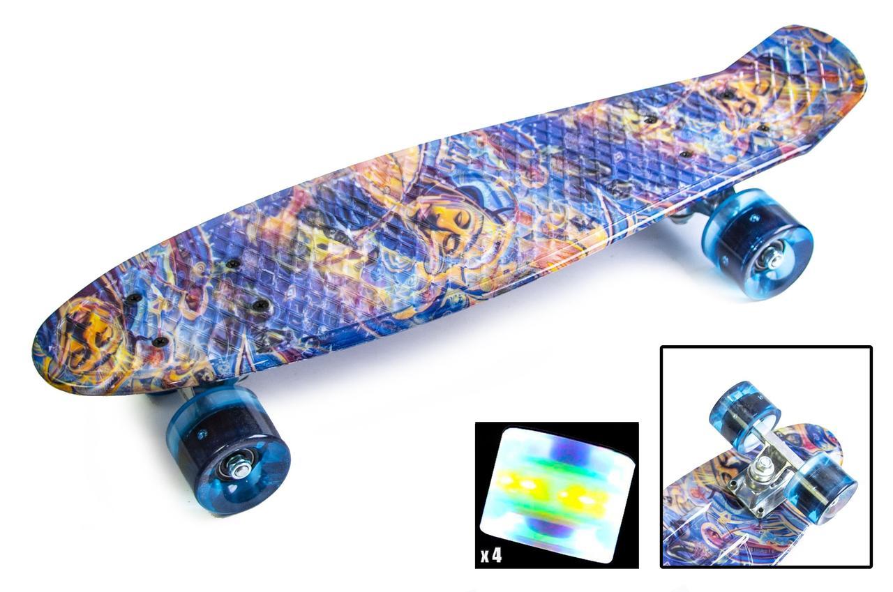 Пенни борд Penny Blue pyramid 22″ со светящимися колесами - Скейтборды и роллерсерфы