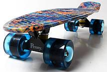 Пенни борд Penny Blue pyramid 22″ со светящимися колесами - Скейтборды и роллерсерфы, фото 2