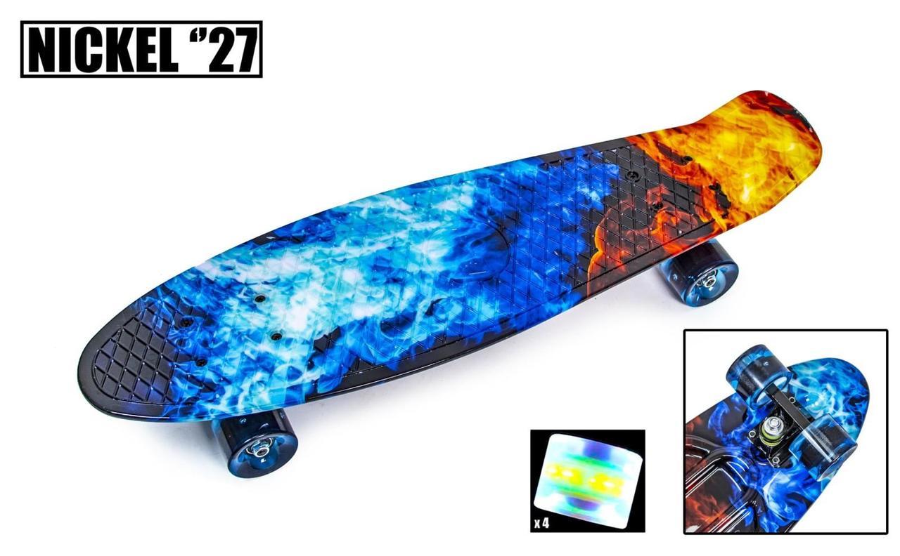 Пенни борд Penny 27″ Nickel с рисунком Fire and Ice Светящиеся колеса