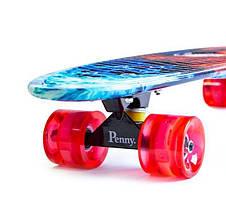 Пенни борд Penny 27″ Nickel с рисунком Fire and Ice Светящиеся колеса, фото 3