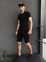 ПОДАРОК!!! Костюм Intruder LaCosta летний черный Мужская футболка поло+Мужские шорты трикотажные