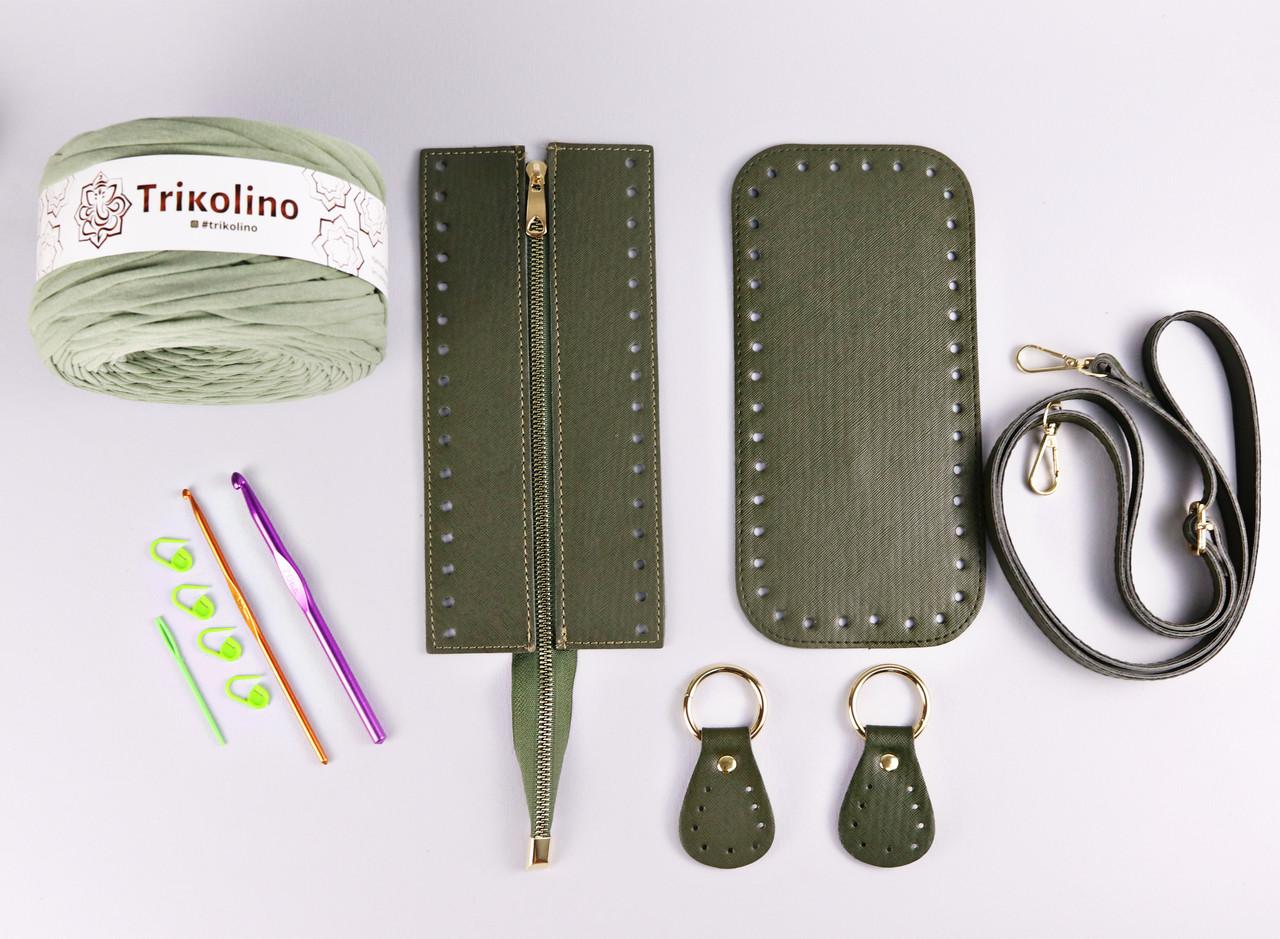 Набор для сумки экокожа Хаки МАКСИ: донышко+верх на змейке 12х25см (9 позиций-Оливковый)