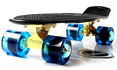 Пенни борд Penny 22″ Logo Engraving Золотая подвеска (Черный) Синие колеса - Скейтборды и роллерсерфы, фото 2