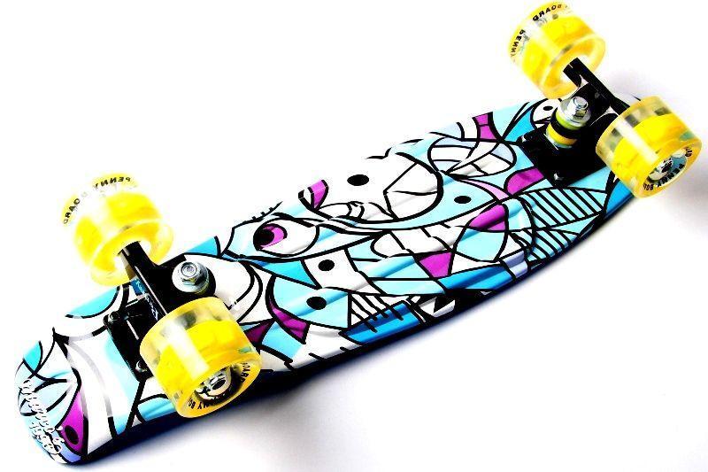 Пенни борд Penny Marcos Blue 2in1 22″ со светящимися колесами - Скейтборды и роллерсерфы