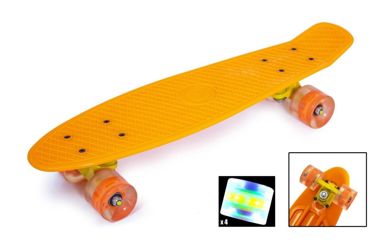 Пенни борд Fish Classic 22″ (Оранжевый 2) Светящиеся колеса - Скейтборды и роллерсерфы