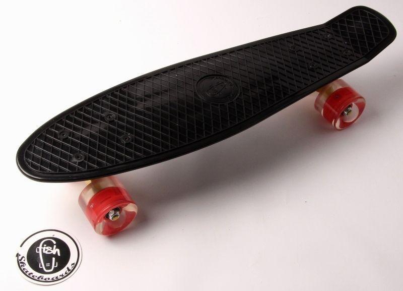 Пенни борд Fish Classic 22″ Черный (Светящиеся красные колеса) - Скейтборды и роллерсерфы